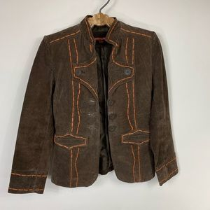 Vintage Brown Suede Jacket Topstitching Small